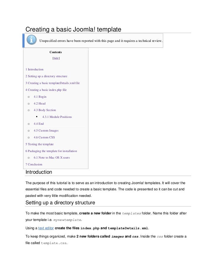 Creating a basic Joomla! template            Unspecified errors have been reported with this page and it requires a techni...
