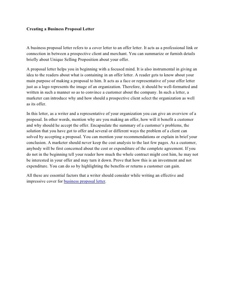 business proposal letter