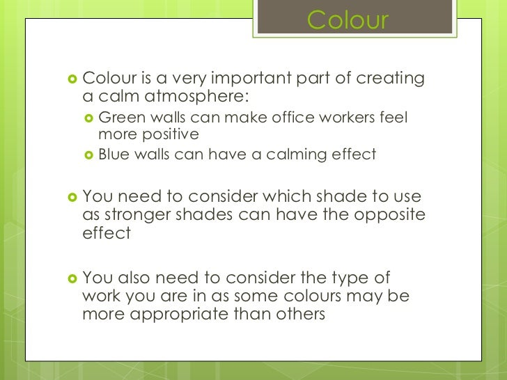 colour calming colors for office