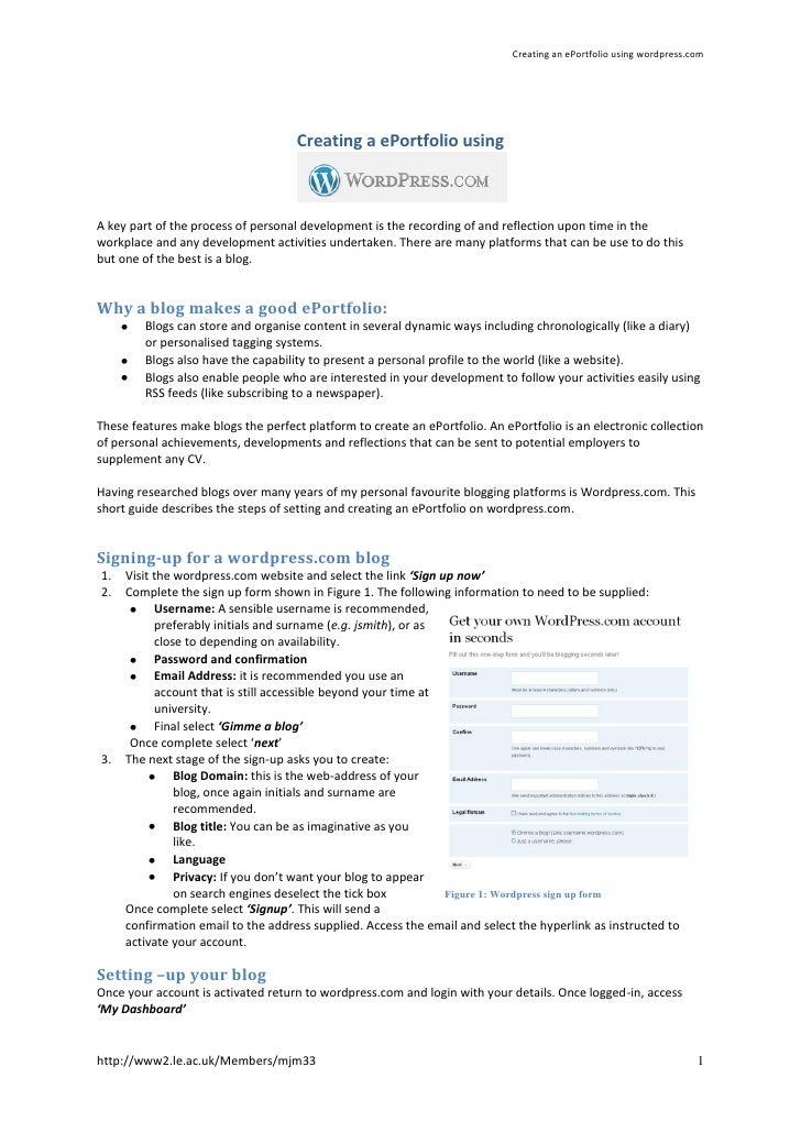 Creating an ePortfolio using wordpress.com                                     Creating a ePortfolio usingA key part of th...