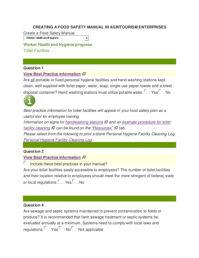 Handout - Creating a Food Safety Manual in Agritourism Businesses