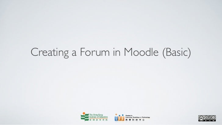 Creating a forum in moodle (basic)