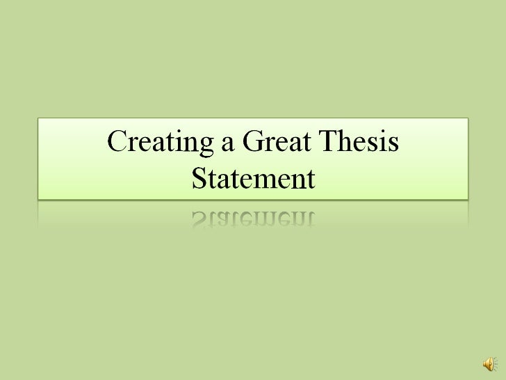 forming a thesis statement