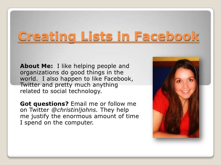 Creating a List in Facebook