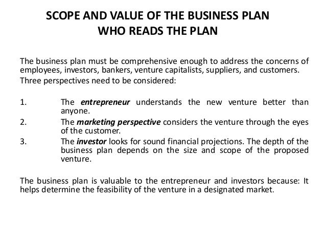 Scope of a business plan