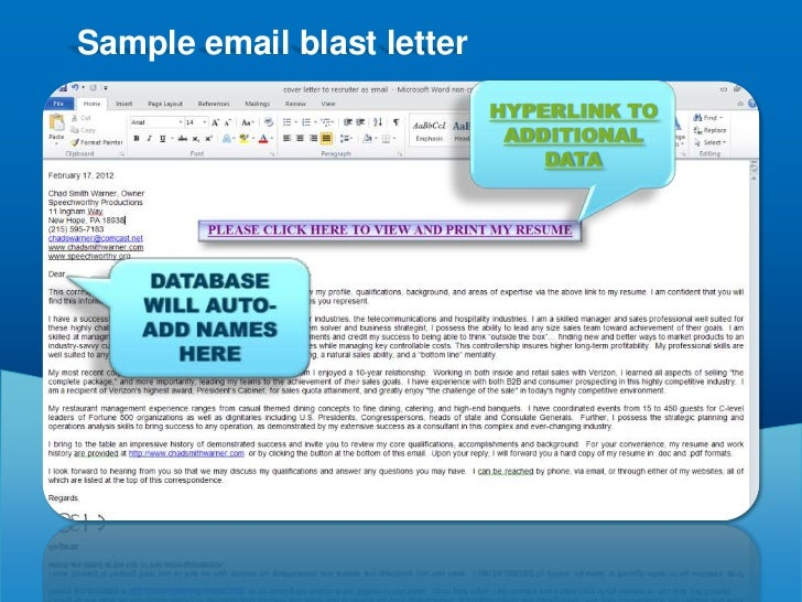 Creating an email blast for standard presentation for Sample email blast template