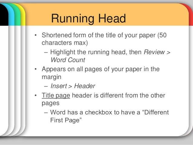 running head apa word