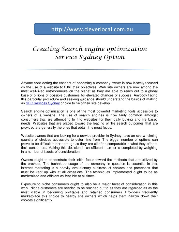 Creating an search engine optimization service sydney option