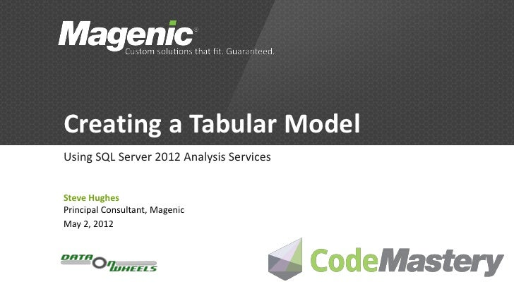 Creating a Tabular ModelUsing SQL Server 2012 Analysis ServicesSteve HughesPrincipal Consultant, MagenicMay 2, 2012