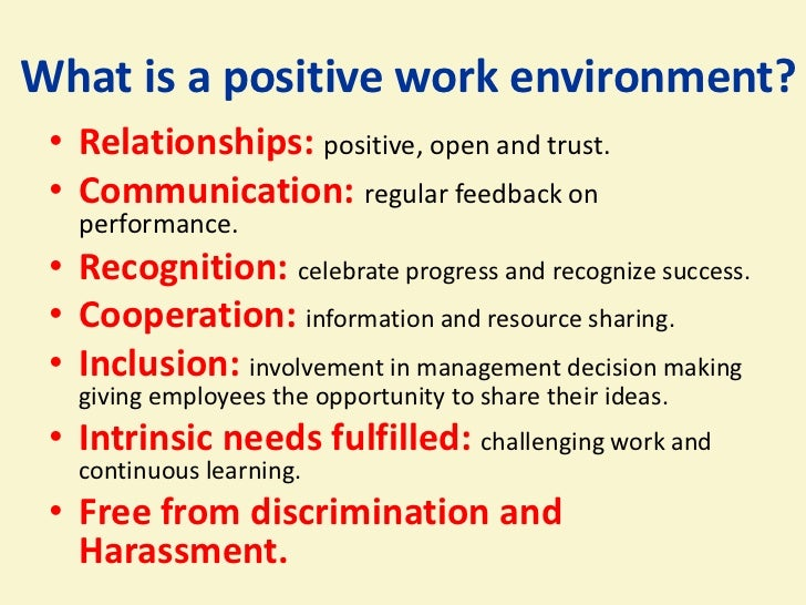 good work environment Creating a good work environment is important in any business fortunately, by taking the steps above, you can create an excellent environment for yourself and your employees share this.
