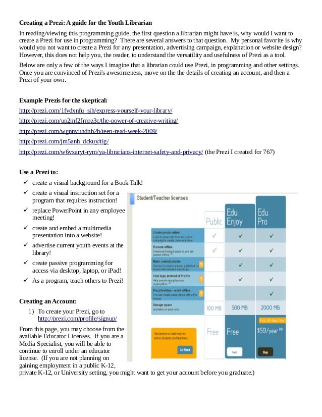 Creating a Prezi: A guide for the Youth Librarian In reading/viewing this programming guide, the first question a libraria...