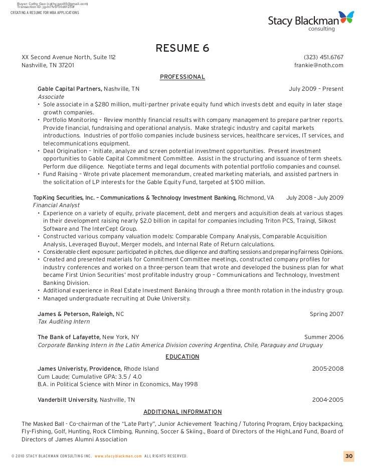 Prospective mba student resume