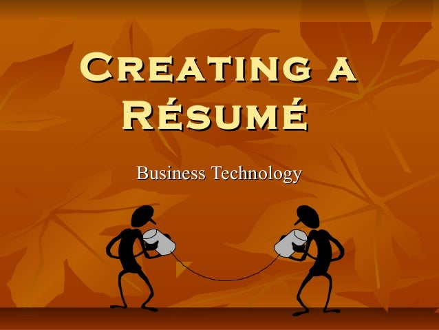 Creating a résumé
