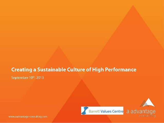 Creating a sustainable culture of high performancev8