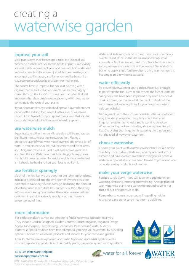 Creating A Waterwise Garden - Australia Water Corporation