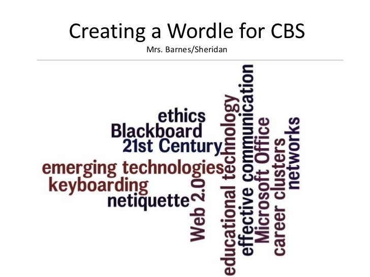 Creating a Wordle for CBS        Mrs. Barnes/Sheridan