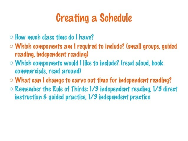 Creating a Schedule o How much class time do I have? o Which components am I required to include? (small groups, guided re...