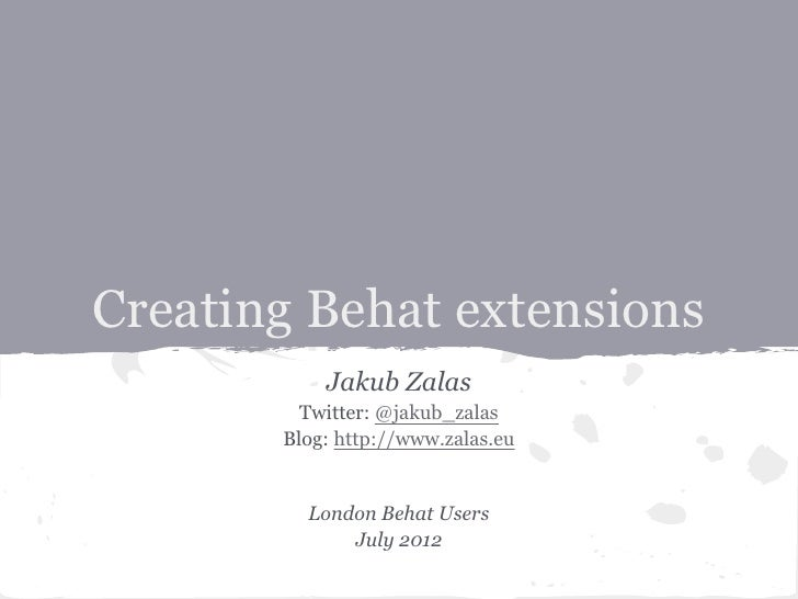 Creating Behat extensions