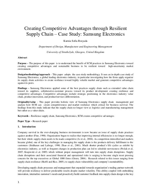acquiring competitive advantage through supply chain Olander-roese, malin nilsson, fredrik competitive advantage through packaging design propositions for supply chain effectiveness and efficiency.