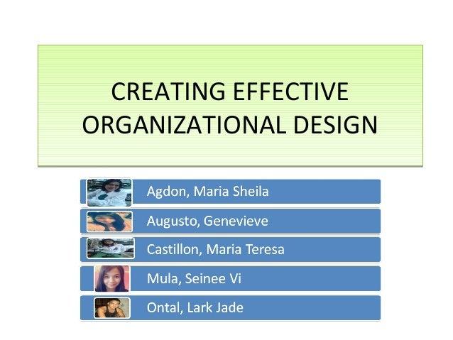 CREATING EFFECTIVEORGANIZATIONAL DESIGN