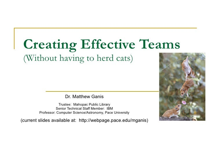 Creating Effective Teams (Without having to herd cats) Dr. Matthew Ganis Trustee:  Mahopac Public Library Senior Technical...