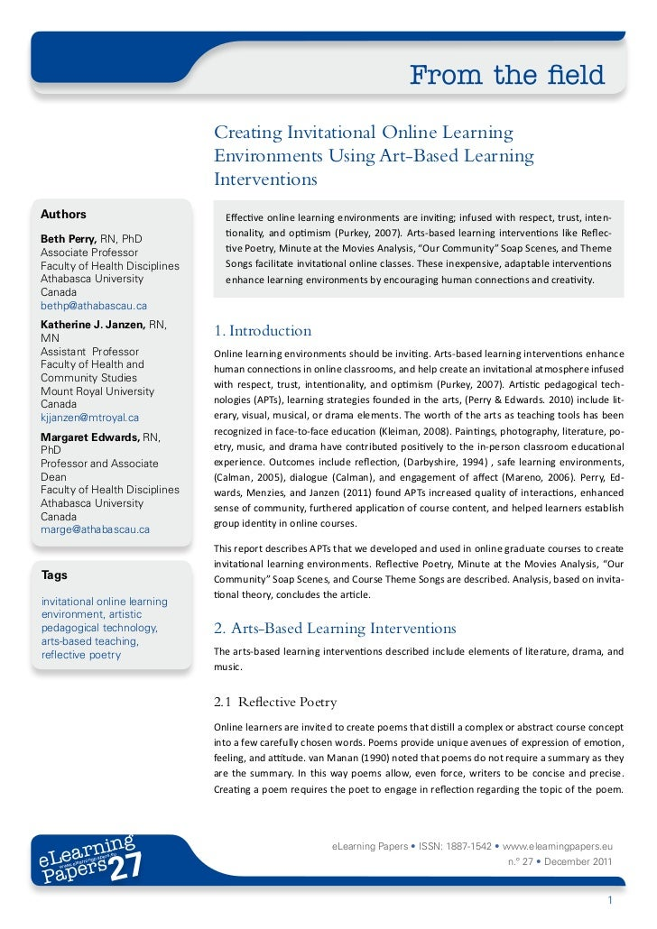 From the field                                Creating Invitational Online Learning                                Environ...