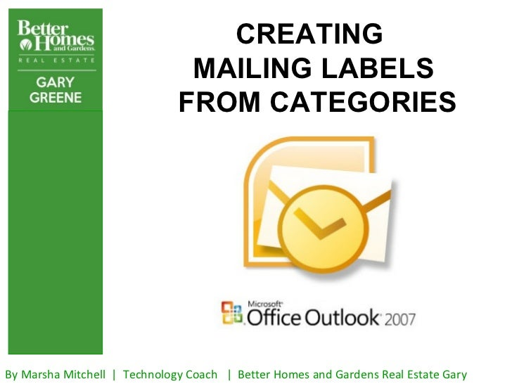 Creating mailing labels from outlook contacts