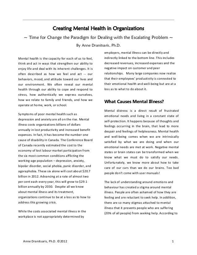 Creating Mental Health in Organizations
