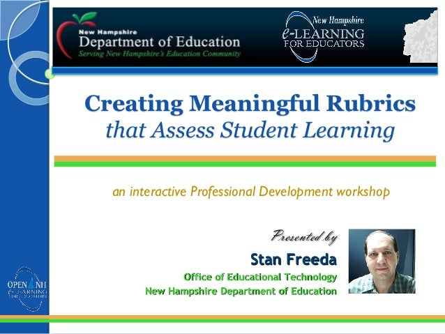 Creating Meaningful Rubrics that Assess Student Learning an interactive Professional Development workshop Presented by Sta...
