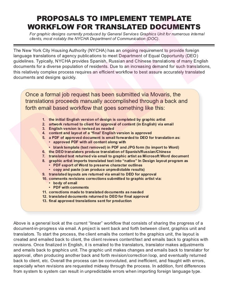 F T        PROPOSALS TO IMPLEMENT TEMPLATE       WORKFLOW FOR TRANSLATED DOCUMENTS        For graphic designs currently pr...