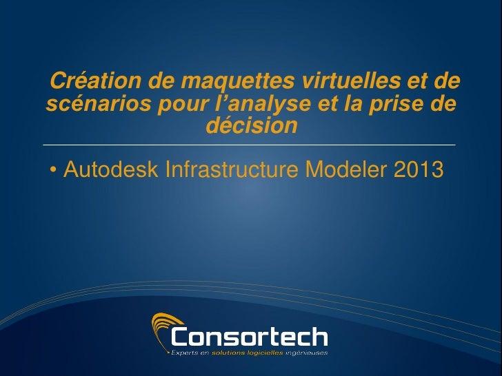 Création de maquettes virtuelles et descénarios pour l'analyse et la prise de              décision• Autodesk Infrastructu...
