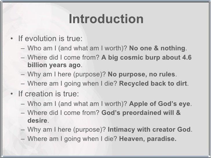 creation vs. evolution essays
