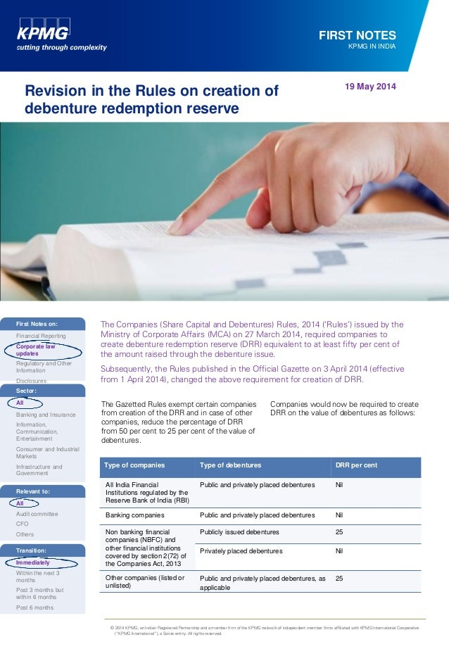 Revision in the Rules on creation of Debenture Redemption Reserve (DRR)