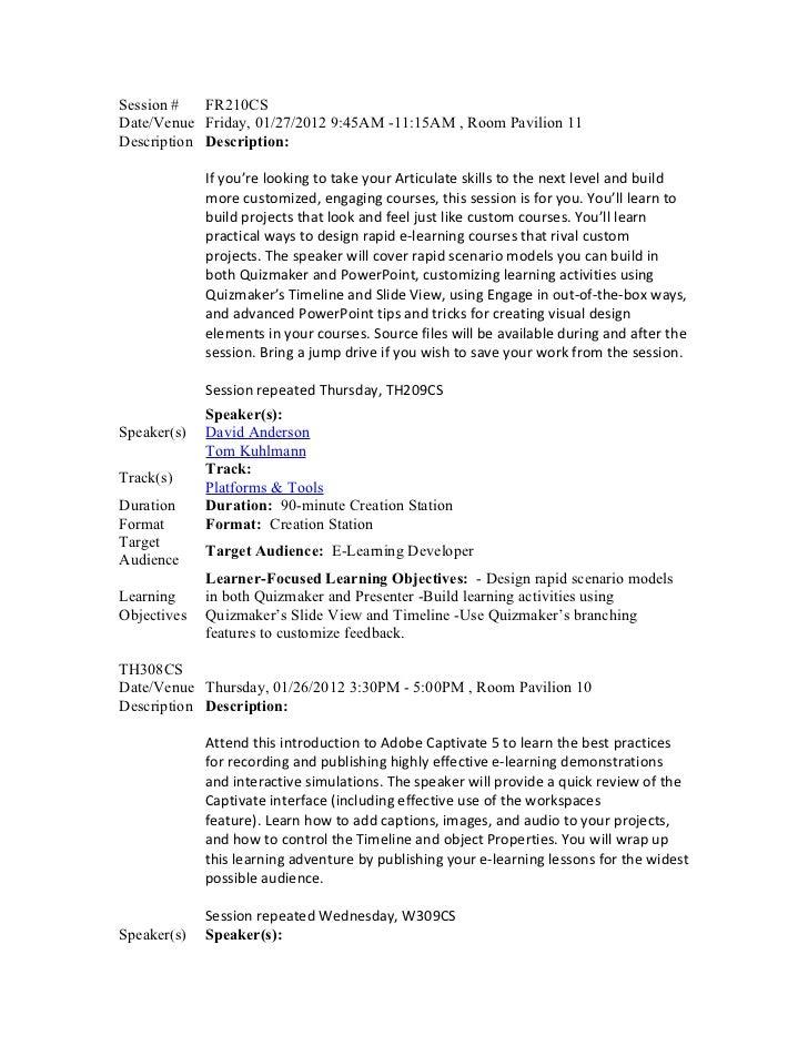 Creation station sessions  descriptions
