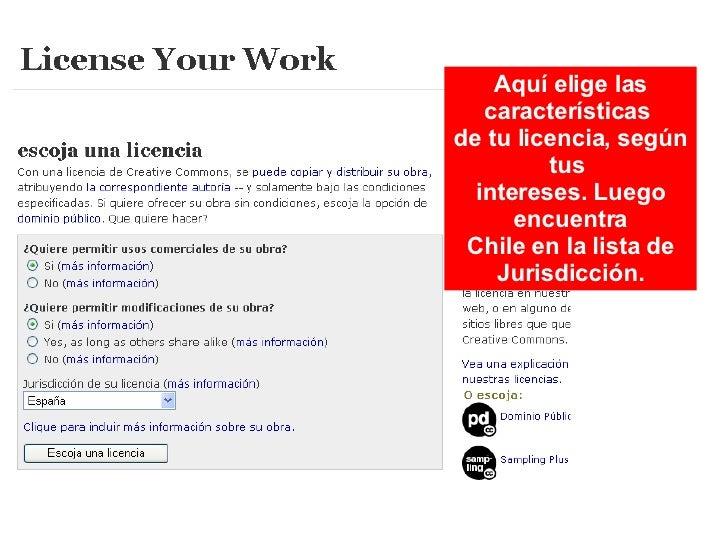 Aquí elige las características  de tu licencia, según tus  intereses. Luego encuentra Chile en la lista de Jurisdicción.