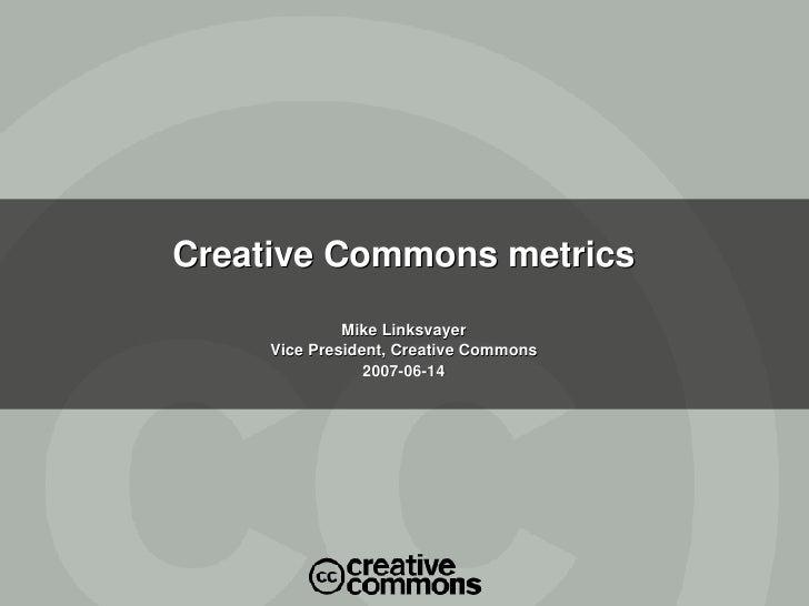 Creative Commons metrics