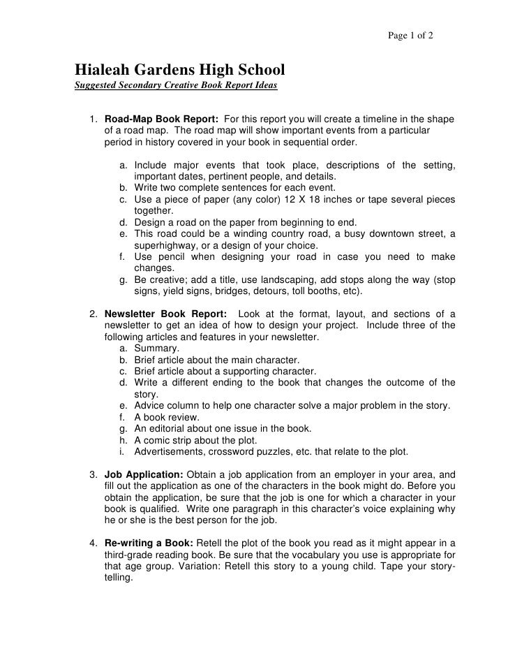 Format for book report high school – Sample Book Report Outline