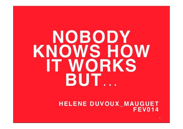 NOBODY KNOWS HOW IT WORKS BUT...! ! HELENE DUVOUX_MAUGUET ! FEV014! 1