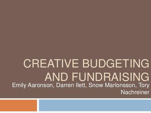 Creative budgetingfundraising