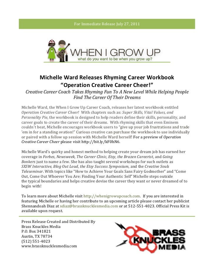 For Immediate Release July 27, 2011                        Michelle Ward Releases Rhyming Career W...