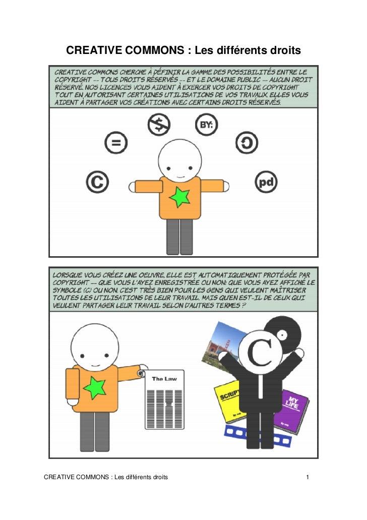 CREATIVE COMMONS : Les différents droitsCREATIVE COMMONS : Les différents droits          1
