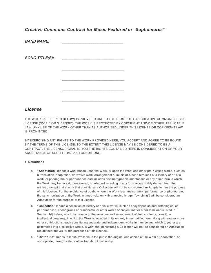 """Creative Commons Contract For Music Featured In """"Sophomores"""""""