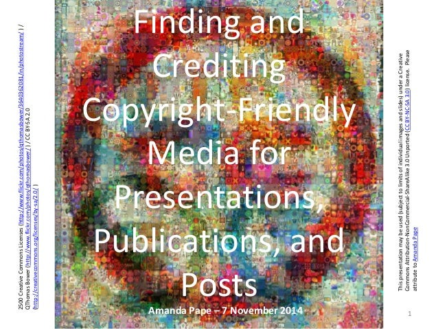 Finding and Crediting Copyright-Friendly Images for Presentations and Publications
