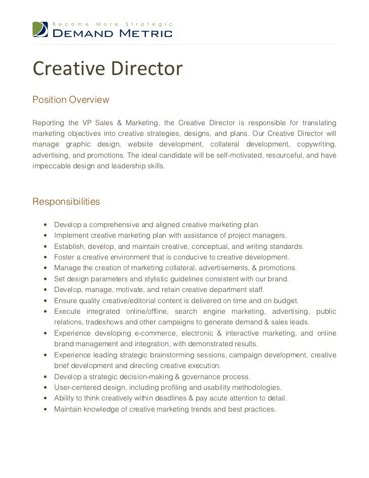 Director Of Design And Development Job Description