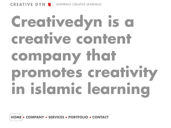 INSPIRING CREATIVE LEARNING     Creativedyn is a creative content company that promotes creativity in islamic learning HOM...