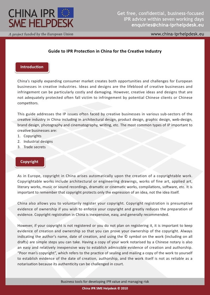 Guide to IPR Protection in China for the Creative Industry