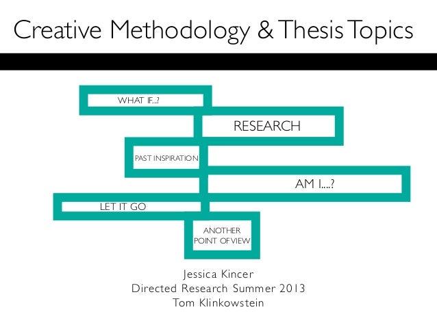 Creative Methodology &ThesisTopicsJessica KincerDirected Research Summer 2013Tom KlinkowsteinWHAT IF...?RESEARCHPAST INSPI...