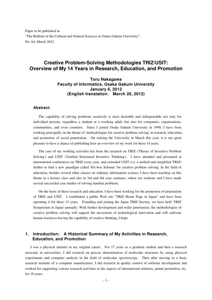 """Paper to be published in""""The Bulletin of the Cultural and Natural Sciences in Osaka Gakuin University"""",No. 64, March 2012 ..."""