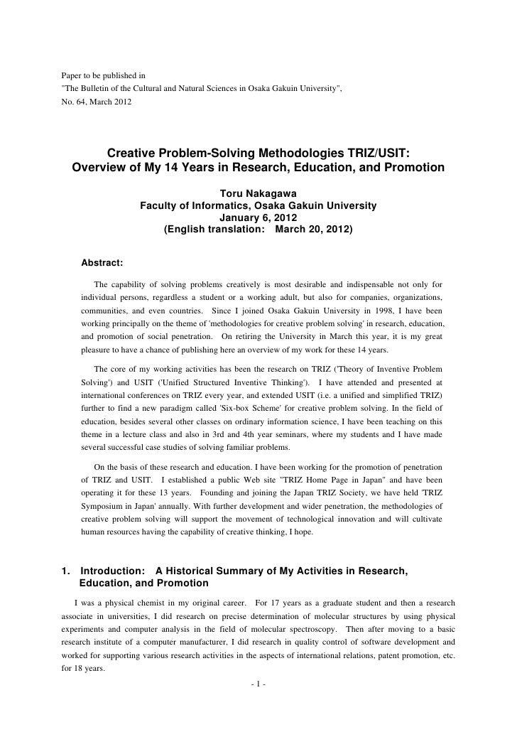 Creative problem solving methodologies triz-usit