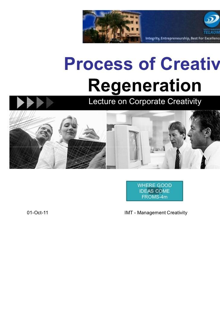 Process of Creative              Regeneration              Lecture on Corporate Creativity                            WHER...